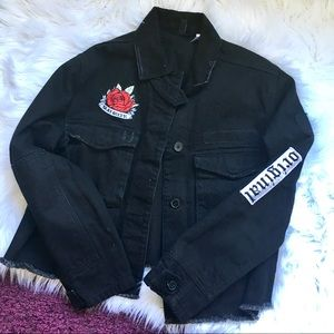 H&M Distressed Patch Denim Jacket